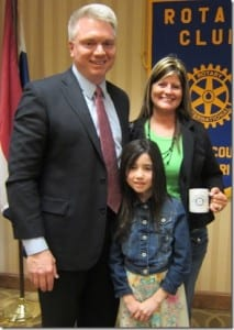 Rotary Club President David Lowe thanks Emily Crabtree and her mother, Tara, for attending the meeting.
