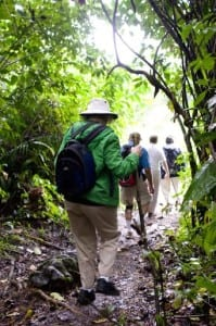 Rotarians from District 6440 (Illinois, USA) hike through the jungle to deliver water filters to the remote village of Tatin, Guatemala.