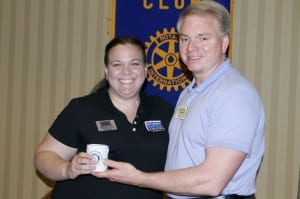 Kelly Brownfield, facility manager of the FLW USO, is pictured with Club President David Lowe.