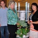 Joel Henley, Jeanane Markway and Tammy Wickham with tower garden