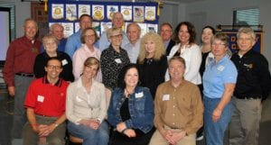 Jefferson City-all clubs: (front row) James Klahr, Jefferson City; Joan Kramer, Jefferson City Evening; Sally Graham, Jefferson City West; and Matt Tolksdorf, Jefferson City Breakfast, all presidents-elect; (middle row) Carol Robertson, Cathy Libey, Angie Kinworthy, Rita Esterly, Nicole Slusser, Julia Prullage and Don Alberti; (back row) Pat Hiatte, Jim Libey, Nick Rackers, Steve Crowell, Don Neumann, Gregg Bexten and Bethany Green.