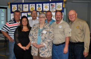 Lake Ozark and Laurie-Sunrise Beach: Clint Ladouceur, assistant governor; Celeste Barela, president-elect; Tom Walker, president; Ivan Turner, vice president, all from Lake Ozark; Linda Lagergren, community service chair; Michael Wagner, president-elect; Charles Niemann, international service chair, all from Laurie-Sunrise Beach