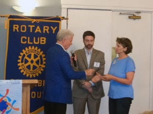 Columbia Rotary Pres Neil Carr and new PH Fellow+2
