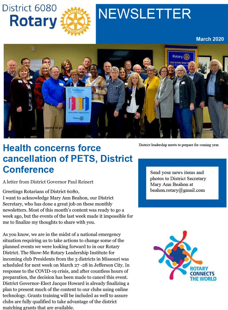 March 2020 District Governor Newsletter