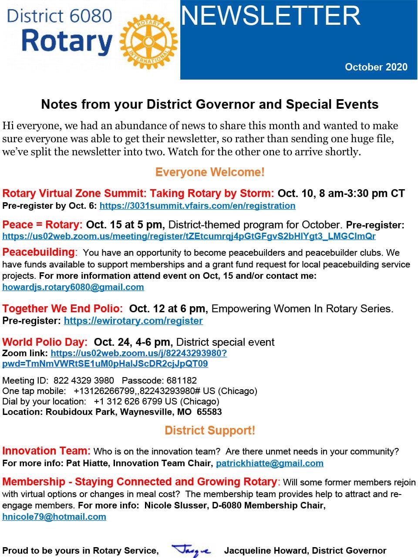 October 2020 District Governor Newsletter